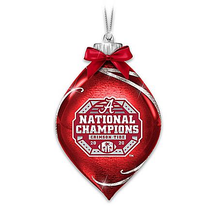 Alabama Crimson Tide 2020 Football National Champions Glass Ornament