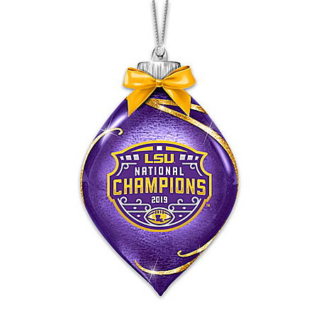 LSU Tigers 2019 Football National Champions Glass Ornament