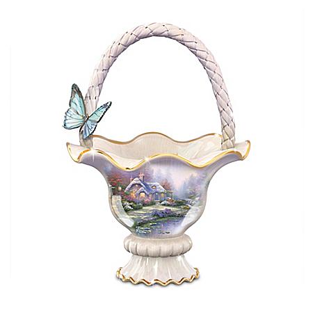 Thomas Kinkade Everett's Cottage Food-Safe Hand-Glazed Bowl