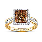 Sweet As Chocolate 18K Gold Plated Diamonesk Personalized Women's Ring