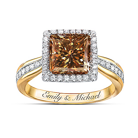 Sweet As Chocolate 18K Gold Plated Diamonesk Personalized Women's Ring – Personalized Jewelry