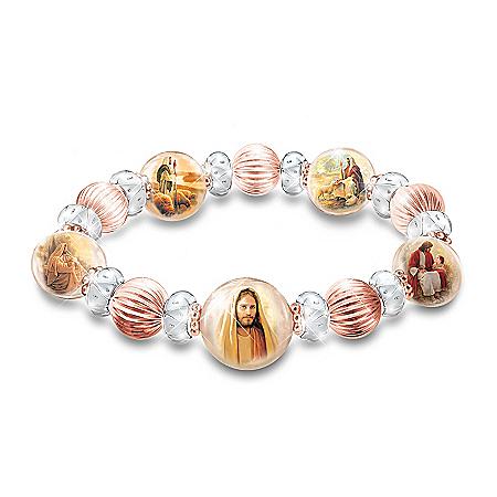Greg Olsen Heaven's Grace Copper & Porcelain Religious Healing Bracelet