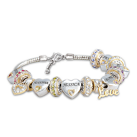Forever In A Mother's Heart Women's Personalized Birthstone Charm Bracelet