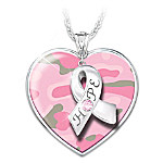 Pink Strong Breast Cancer Awareness Heart-Shaped Pendant Necklace