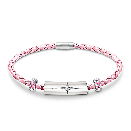 Religious Breast Cancer Awareness Pink Genuine Leather and Diamond Bracelet