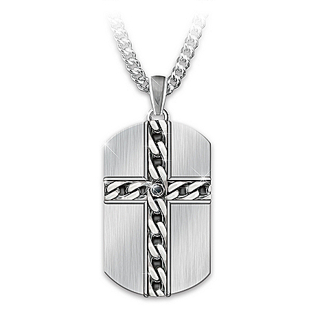 Strong & Courageous Son Stainless Steel Dog Tag Pendant Necklace