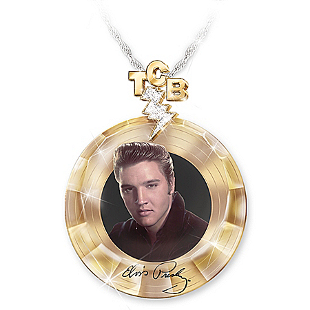 Elvis Presley Women's Gold Record Pendant Necklace