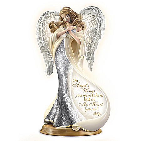 Bereavement Heirloom Porcelain Mosaic Angel Sculpture with 22K Gold Lights Up