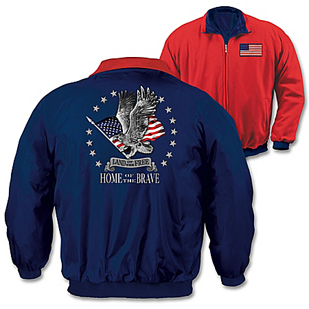 American Pride Men's Nylon And Fleece Reversible Jacket