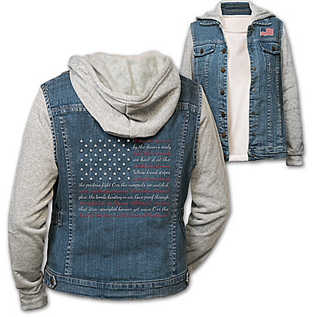 Star-Spangled Women's Embroidered Denim Vest Hoodie