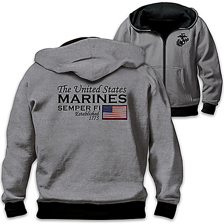 Reversible Military U.S. Marines Men's Front Zip Hoodie