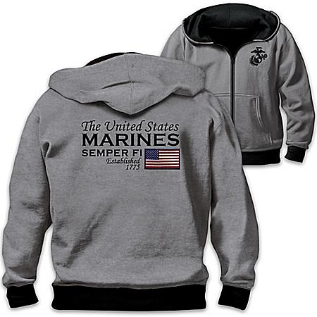 Reversible Military U.S. Marines Men's Front Zip Hoodie