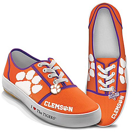 Clemson Tigers 2016 National Champions Canvas Women's Sneakers With Metallic Charm