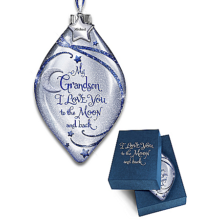 Grandson, I Love You To The Moon And Back Personalized Ornament