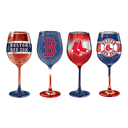 Boston Red Sox Pride MLB Hand-Fired Wine Glass Set