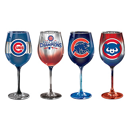 Chicago Cubs Pride MLB Hand-Fired Wine Glass Set