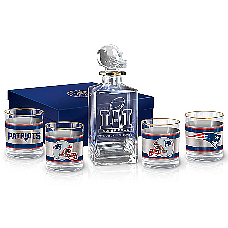 New England Patriots NFL Super Bowl LI Championship Decanter Set