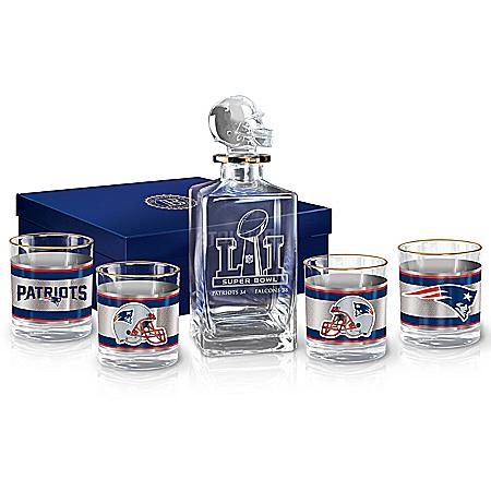 New England Patriots NFL Super Bowl LI Championship Decanter Set