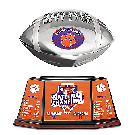 Clemson Tigers 2016 National Champions Silver Plated Levitating Football Sculpture