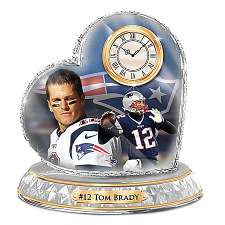 New England Patriots Tom Brady NFL Crystal Clock