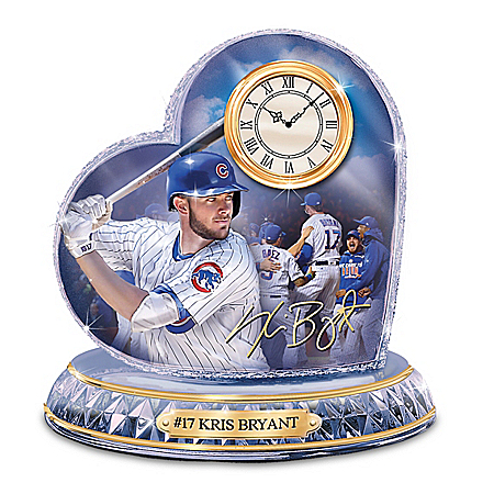 MLB Chicago Cubs No. 17 Kris Bryant Crystal Heart Clock
