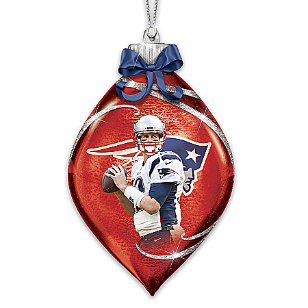 New England Patriots Tom Brady Illuminated NFL Glass Christmas Ornament