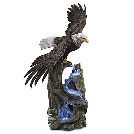 Majestic Waters Illuminated Cold-Cast Stone Eagle Sculpture