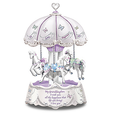 Granddaughter, I Wish You Illuminated Carousel Music Box
