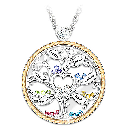 Our Story Women's Personalized Crystal Birthstone Pendant Necklace Featuring A Family Tree Design & 18K Gold-Plated Accents – Pe