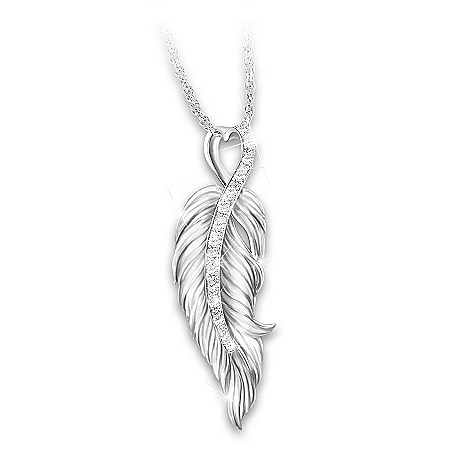 When Angels Are Near Women's Diamond Pendant Necklace