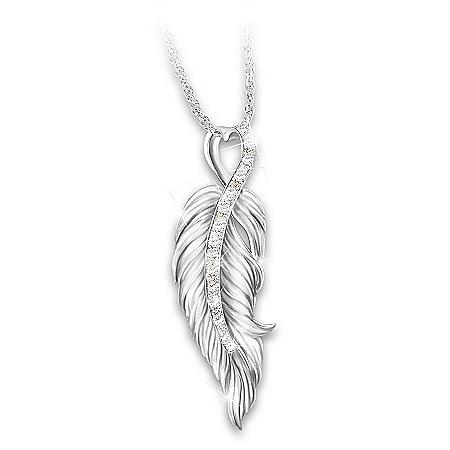 When Angels Are Near Women's Diamond Pendant Necklace