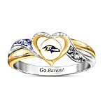 Baltimore Ravens Women's 18K Gold-Plated NFL Pride Ring
