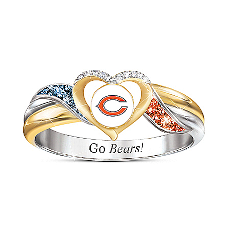 Chicago Bears Pride Ring With Team-Colored Crystals