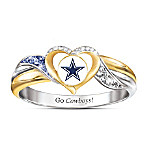 Dallas Cowboys Women's 18K Gold-Plated NFL Pride Ring