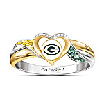 Green Bay Packers NFL Heart-Shaped Pride Women's Ring
