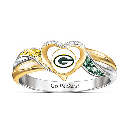 NFL Licensed Green Bay Packers Pride Women's Ring with Team Color Crystals