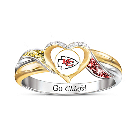 Kansas City Chiefs Pride Ring With Team-Colored Crystals