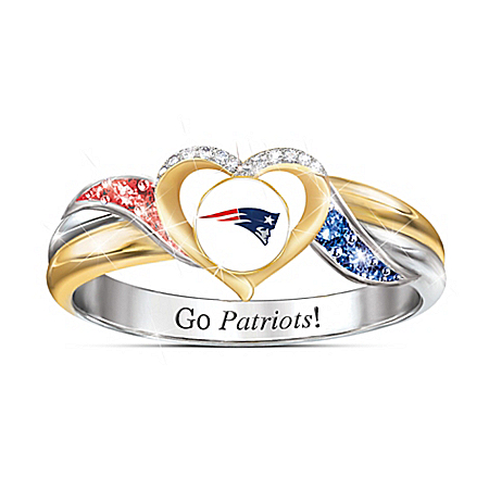 New England Patriots Women's Sterling Silver NFL Pride Ring