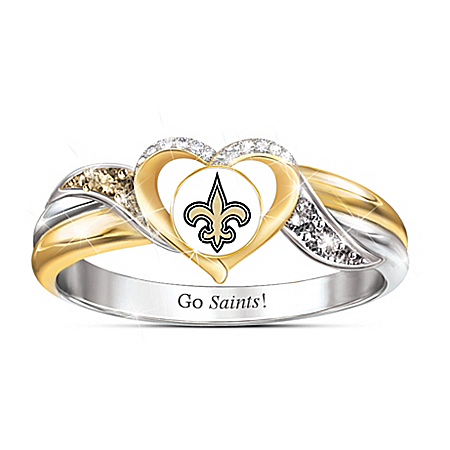 New Orleans Saints Women's 18K Gold-Plated NFL Pride Ring