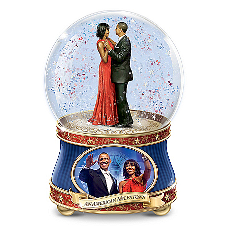 Barack And Michelle Obama: An American Milestone Musical Glitter Globe