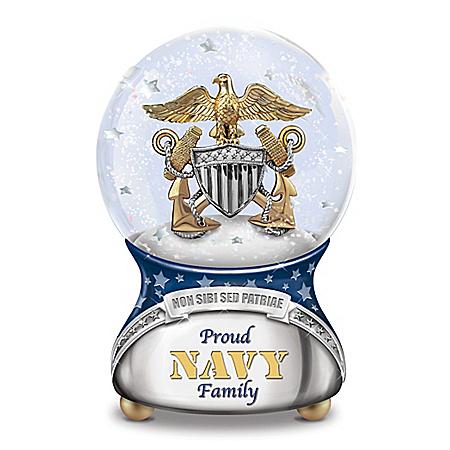 Proud Navy Family Musical Glitter Globe