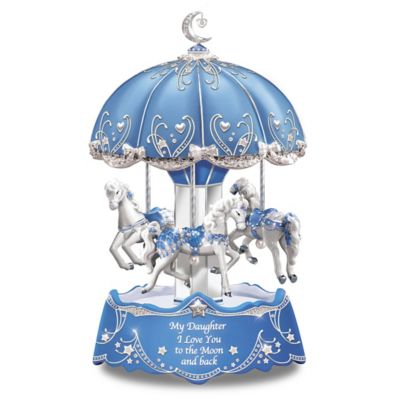 Bradford Exchange Daughter, I Love You To The Moon And Back Illuminated Carousel
