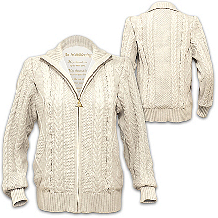 Irish Blessing Women's Cotton Cable Knit Zip Sweater Jacket