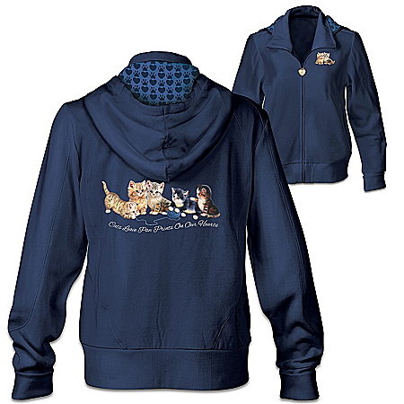 Kitty-Kat Cute Women's Knit Hoodie