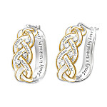 Strength Of Family Personalized 18K Gold-Plated Diamond Earrings