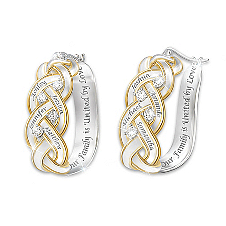 Strength Of Family Personalized 18K Gold-Plated Diamond Earrings – Personalized Jewelry