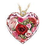 Love Blooms Forever Diamond Crystal Women's Heart-Shaped Pendant Necklace