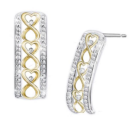 Forever Loved Daughter Sterling Silver Diamond Earrings