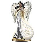 On Angel's Wings Heirloom Porcelain Mosaic Angel Bereavement Sculpture