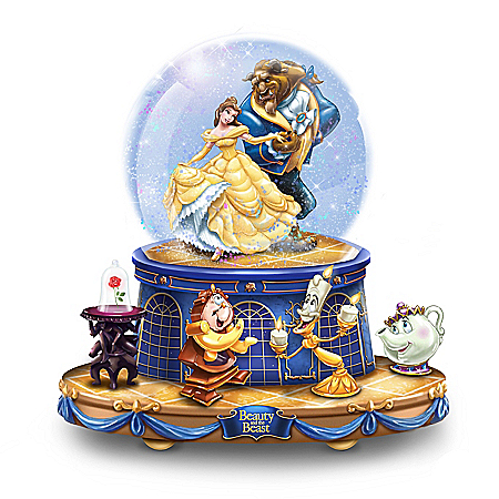 Disney Beauty And The Beast Rotating Musical Glitter Globe